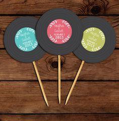 Custom Vinyl Record Printable Cupcake Toppers // Birthday Cupcake Toppers // Retro Cupcake Topper // PRINTABLE on Etsy, $7.00