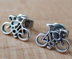 Bicycle Earrings - 925 Sterling Silver - Bike Post Stud Cycling Cycle Ride