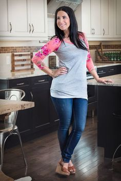 Image of Grey and Floral Baseball Tunic - Coral/Pink