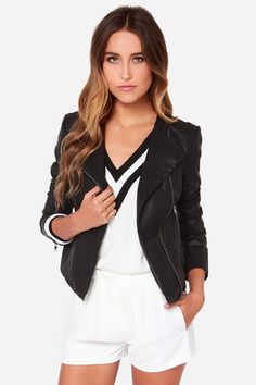 """Moto style is a go this season with unstoppable finds like the BB Dakota Reasha Black Vegan Leather Moto Jacket! This sleek vegan leather jacket has all the cool details you look for in a moto jacket: a sleek collarless cut, asymmetrical zipper front, plus gunmetal zippers at the cuffs of the long sleeves and vertical front pockets. Fully lined in black woven fabric. Model is 5'8"""" and is wearing a size X-small. Self: 100% Polyurethane. Lining: 100% Polyester. Wipe Clean. Imported."""