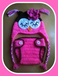 Newborn Baby Girl Sleepy Crochet OWL Bubblegum Pink by shayahjane, $28.99