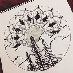 Mandala full moon forest mountain tattoo wild drawing design landscape