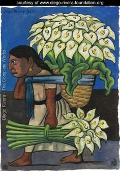 Woman With Calla Lillies On Her Back - Diego Rivera - www.diego-rivera-foundation.org
