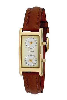 Gotham Men's Gold-Tone Dual Time Zone Leather Strap Watch # GWC15077G Gotham. $49.95. Elegant and stylish timepiece that keeps track of 2 time zones on one watch. Gold-tone highly polished contoured rectangular case with mineral crystal plus genuine leather strap. Two precision Japanese quartz movements plus scratch resistant mineral crystal. Perfect timepiece for business travelers and flight attendants. Arrives with deluxe draw string pouch and gift box, operating instruct...