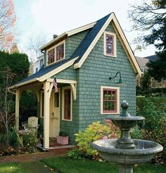 Shed turned into a little house for a guest room or a man cave.