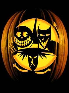 The Nightmare Before Christmas JOL - Lock, Shock and Barrel Halloween Pumpkin Stencils, Disney Pumpkin Carving, Pumpkin Art, Pumpkin Ideas, Pumpkin Carvings, Carving Pumpkins, Pumpkin Designs, Disney Halloween, Halloween Jack