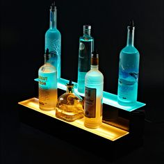 Kitchen: Classy Furniture For Kitchen Decoration Design Using 2 Level Yellow And Blue LED Liquor Bottle Shelves For Kitchen Decoration , bar liquor shelves, bar shelves designs ~ Groliehome - Stunning Home Interior Design Ideas