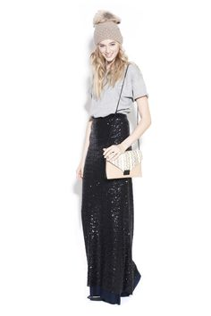 Oh, I love this skirt. So glam with just a simple white tank.