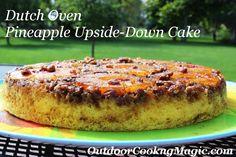 Dutch Oven Pineapple Upside Down Cake - MasterCook Dutch Oven Desserts, Dutch Oven Recipes, Desserts To Make, Pineapple Upside Cake, Whipped Cream Cakes, Dutch Oven Camping, Cast Iron Dutch Oven, Bean Recipes, Cake Batter