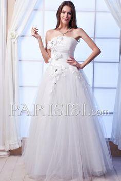 vestidos de novia Sin tirantes Hasta Suelo Blanco Tul Corte A Encaje Basque Cristal Flors Sin Mangas Elegante Moderno Glamouroso