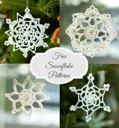 free Christmas crochet patterns …snowflakes collage  http://www.petalstopicots.com/free-crochet-patterns/holiday/sample-page/
