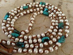 Perfect combo Pearls turquoise and leather by JulieMoloneyDesigns