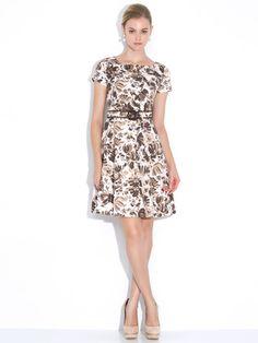 Harrods - tuck stretch flower print short sleeve dress with belt
