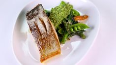 Curtis Stone's Pan-Seared Salmon with Spring Vegetables & Pea-Mint Pesto