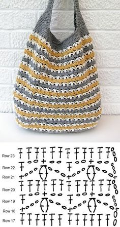 Slouchy Market Bag, free pattern from Very Berry Handmade. Pretty stitch pattern . . . . ღTrish W ~ http://www.pinterest.com/trishw/ . . . .