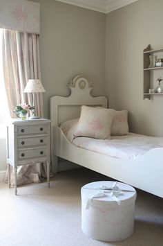 gustavian style with softer, English country hints, grey and pink girls room