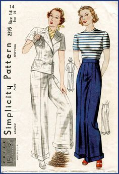 1930s 30s vintage sailor sewing pattern cuffed pants wide leg trousers double breasted jacket bust 32 b32 reproduction