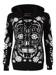 Rockabilly Goth White Flower Sugar Skull Day of the Dead Black Hoodie - My Sugar Skulls