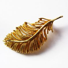 Vintage BSK Golden Feather Brooch/Pin - Vintage Jewelry by FembyDesign