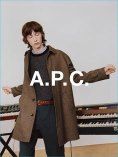 Benno Bulang dons a smart brown coat for A.P.C.'s fall-winter 2016 campaign.