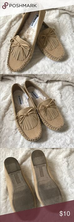 Moccasin style shoes Tan slip on cozy moccasin style flat. Worn once. Airwalk Shoes Flats & Loafers
