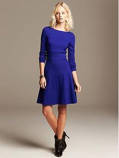 Seamed Ponte Fit-and-Flare Dress | Banana Republic