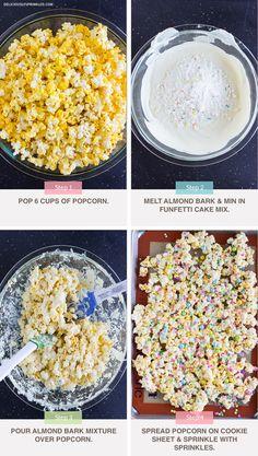 Wonderful Photo of Birthday Cake Popcorn Recipe . Birthday Cake Popcorn, Make Birthday Cake, Birthday Cake With Photo, Birthday Party Snacks, Birthday Week, School Birthday Treats, Birthday Ideas, 10th Birthday, Flavored Popcorn
