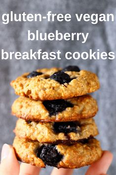 These Gluten-Free Vegan Blueberry Breakfast Cookies are soft and chewy, fragrant and fruity and perfectly satisfying. They work well as a filling breakfast, but are also great as an afternoon snack or dessert. Vegan Breakfast Recipes, Vegan Snacks, Vegan Recipes, Vegan Blueberry Recipes, Vegan Gluten Free Breakfast, Vegan Gluten Free Cookies, Vegan Blueberry Muffins, Egg Free Cookies, Blueberry Cookies