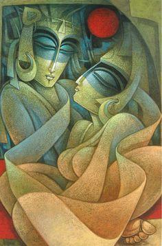 by Nityam Singha Roy - bangali artist (ca Krishna Painting, Krishna Art, Thangka Painting, Radhe Krishna, Art Visage, Indian Art Paintings, Abstract Paintings, Oil Paintings, Art Corner