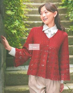 "Photo from album ""Lets Knit Series on Yandex. Crochet Blouse, Ruffle Blouse, Crochet Clothes, Girls Out, Pull, Free Crochet, Tunic Tops, Album, Knitting"