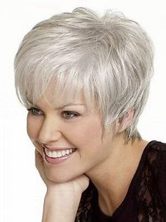 Short grey hair, Short hair color, Gray hair cuts, Wig hairstyles, Hair styles for women over Thin fine hair - High quality Women Nice short Natural Straight wig Stylish lady Silver synthetic hair - Mom Hairstyles, Hairstyles Over 50, Short Hairstyles For Women, Straight Hairstyles, Glasses Hairstyles, Hairstyle Ideas, Simple Hairstyles, Black Hairstyles, Hairstyles Pictures