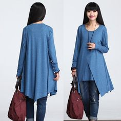 Casual Long Sleeved T-shirt Blouse for Autumn and Spring - Blue - SY-613
