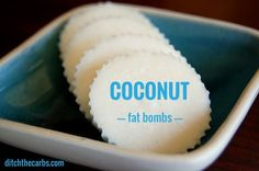 1.1g net carbs!!! Coconut Fat Bombs are just what you need to keep your hunger at bay. These simple fat bombs can be read in 5 minutes. You can probably eat only 1 or 2 but it will keep you full for hours. Coconut is such a health giving food. | ditchthecarbs.com via @ditchthecarbs