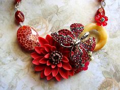 Red Butterfly Necklace Flowers Beauty Chic Glam by aldesigns, $149.00
