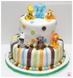 Animal themed Baby shower cake - Cake by Sobi Thiru Idee Baby Shower, Shower Bebe, Baby Shower Themes, Baby Boy Shower, Animal Theme Baby Shower, Gateau Baby Shower, Safari Baby Shower Cake, Safari Party, Jungle Safari