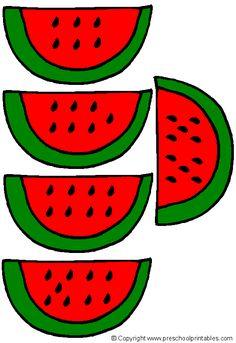 www.preschoolprintables.com / File Folder Game/ Watermelon Numbers