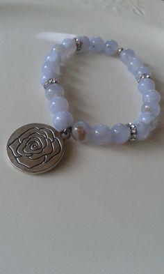 Light Blue Lace Agate Bracelet / by LustrousLoveJewelry on Etsy