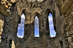 Windows of Gothic Chapel at Beckov Castle - Beckov, Slovakia Captured by Clark Gray Heart Of Europe, Our Country, Personal Photo, Brooklyn Bridge, Where To Go, Castles, Galleries, Paths, Folk Art