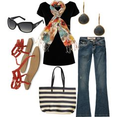 Plain black tee with colorful summery scarf, medium wash jeans and sandals. Vacation outfit