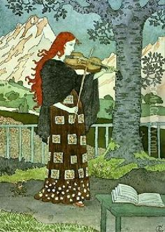 LADY PLAYING THE VIOLIN ♪ Artist: Eugene Grasset