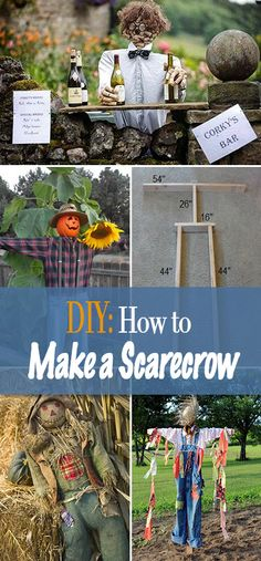 DIY Decor : How to Make a Scarecrow • Learn how to make an easy and inexpensive scarecrow project as decor for your porch or garden! Some really creative ideas!