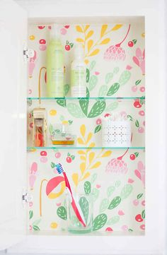 Cover the inside of your medicine cabinet with contact paper.