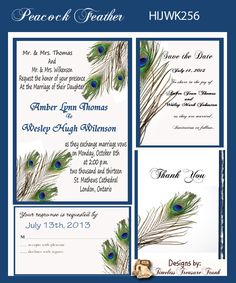 Peacock+Wedding+Invitations+Kit | Details about Peacock Feathers Wedding Invitation Kit on CD
