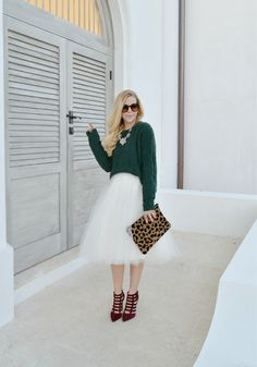 Holiday Outfit Idea - Emerald Knit Sweater and Tulle Skirt