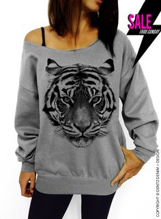 Hey, I found this really awesome Etsy listing at https://www.etsy.com/listing/165946507/tiger-gray-slouchy-oversized-sweatshirt
