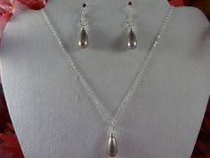 BRIDAL JEWELRY SET 2 - Mother of the Bride or Made of Honor - Sterling Silver Crystal Swarovski Silver Teardrops - Necklace and Earring Set by ChrysalisCrystalGems on Etsy