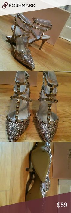 Rock Stud Like Shoes. NEW Fashioned after Valanteno Rock Sud Shoes. These are new shoes in mint condition  They ate rose and gold glitter and.a beige heel and strap.They work with jeans  or evening wear.They will add glamor to any outfit. BCBGeneration Shoes Heels