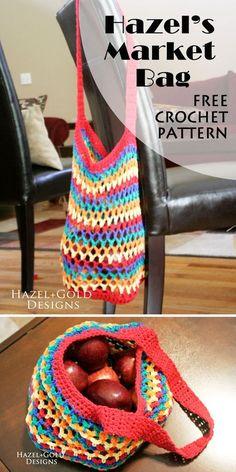 Hazel's Market Bag, free crochet pattern, Hazel + Gold Designs.