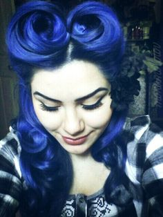 Royal blue vintage retro pin dyed rockabilly hair color