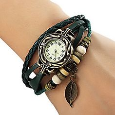 Women's+Watch+Bohemian+Leaf+Pendent+Leather+Weave+Bracelet+–+USD+$+2.97